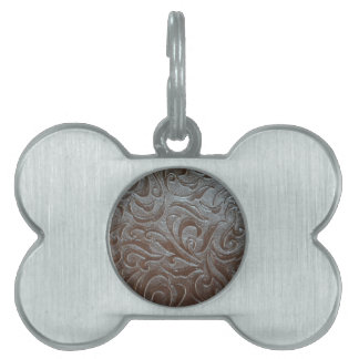 Rustic western country pattern tooled leather pet name tag