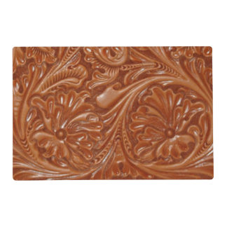 Rustic western country pattern tooled leather placemat