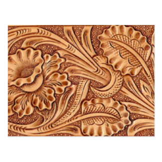 Rustic western country pattern tooled leather post cards
