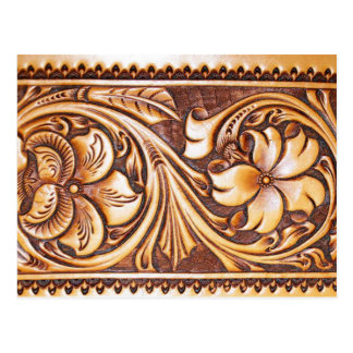 Rustic western country pattern tooled leather postcard
