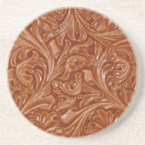 Rustic western country pattern tooled leather sandstone coaster