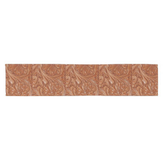 Rustic western country pattern tooled leather short table runner