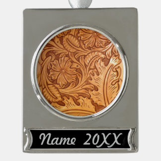 Rustic western country pattern tooled leather silver plated banner ornament