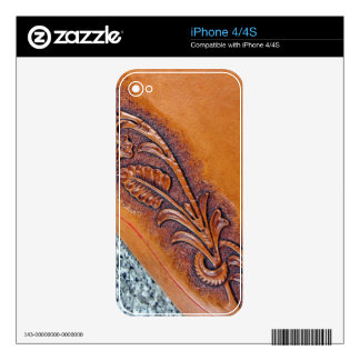 Rustic western country pattern tooled leather iPhone 4S skins
