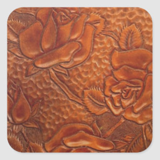 Rustic western country pattern tooled leather square sticker