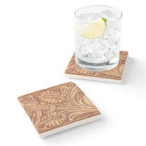 Rustic western country pattern tooled leather stone coaster