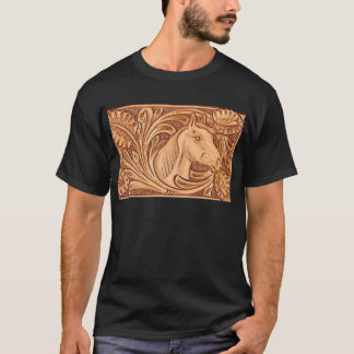 Rustic western country pattern tooled leather T-Shirt