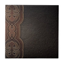 Rustic western country pattern tooled leather tile
