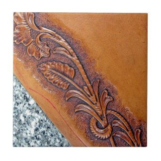 Rustic western country pattern tooled leather tiles