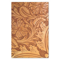 Rustic western country pattern tooled leather tissue paper