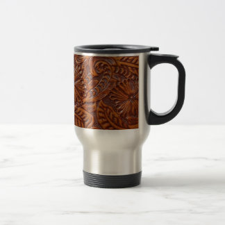 Rustic western country pattern tooled leather travel mug