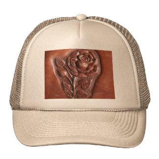 Rustic western country pattern tooled leather trucker hat