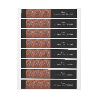 Rustic western country pattern tooled leather wrap around address label