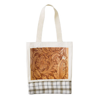 Rustic western country pattern tooled leather zazzle HEART tote bag