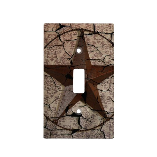 Rustic Western Country Primitive Texas Star Light Switch