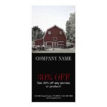 rustic western country red barn Organic farm Rack Card