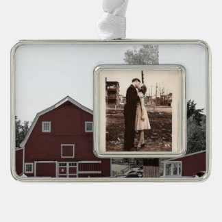 Rustic western country rural farmhouse red barn christmas ornament