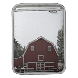 Rustic western country rural farmhouse red barn iPad sleeve