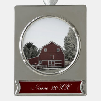 Rustic western country rural farmhouse red barn silver plated banner ornament