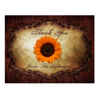 rustic western country sunflower wedding thank you postcard