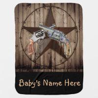 rustic western country texas star cowboy pistol stroller blanket