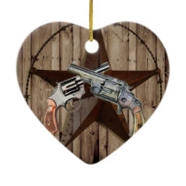 rustic western country texas star cowboy pistols ceramic ornament