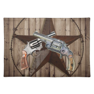 rustic western country texas star cowboy pistols cloth placemat