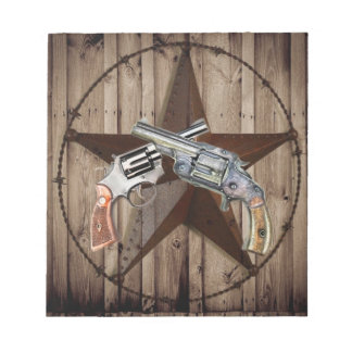 Rustic western country texas star cowboy pistols notepad