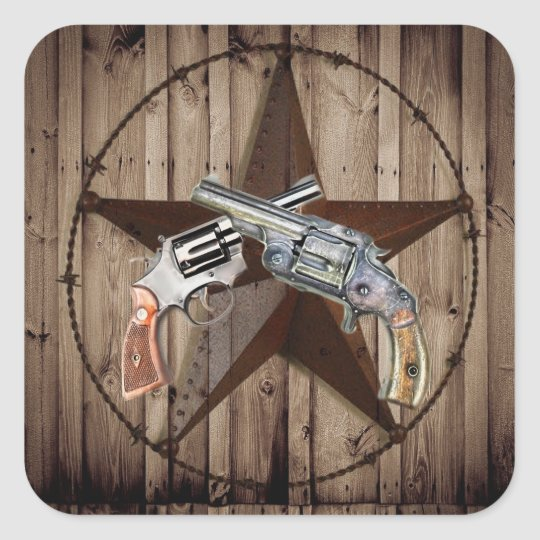 rustic western country texas star cowboy pistols square sticker