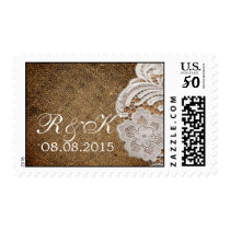 rustic western country wedding burlap and lace postage