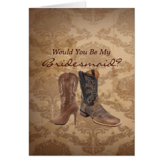 rustic western country   Will You Be My Bridesmaid Card