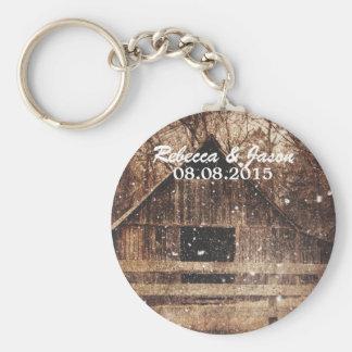 rustic western country winter barn wedding keychain