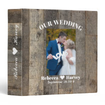 rustic western country woodgrain barn wedding 3 ring binder