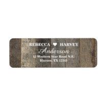 rustic western country woodgrain barn wedding label