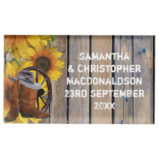 Rustic western cowboy and country floral wedding place card holder