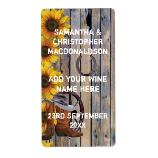Rustic western cowboy country floral wine label