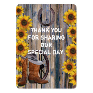 Rustic western cowboy favor thank you tag large business card