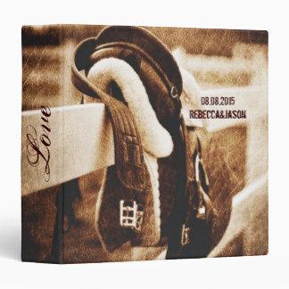 Rustic western cowboy horse saddle wedding binder