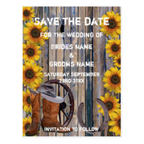 Rustic western cowboy ranch theme save the date postcard