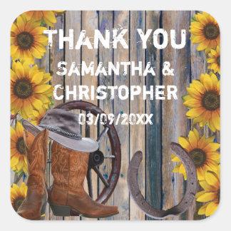 Rustic western cowboy wedding thank you square sticker
