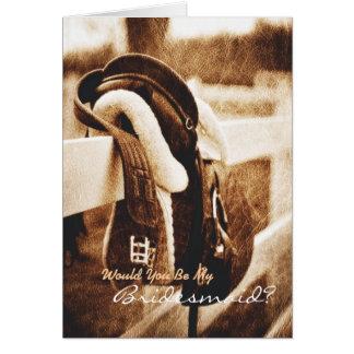 Rustic western cowboy  Will You Be My Bridesmaid Card