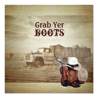 rustic western farm truck country wedding invite