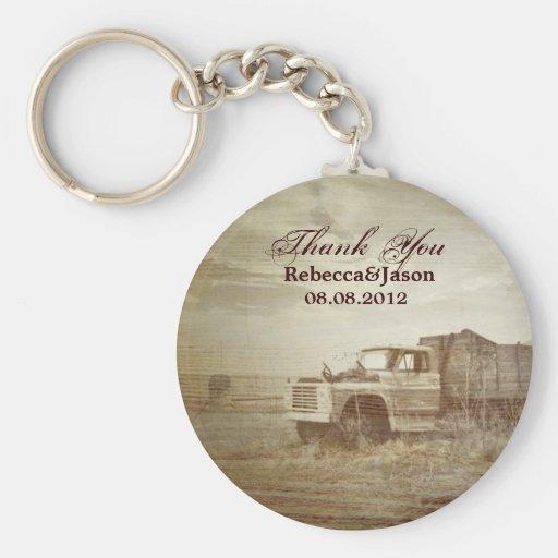 rustic western farm truck fields country thank you keychain