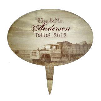 rustic western farm truck fields country wedding cake pick