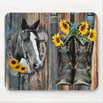 Rustic Western Horse Cowboy boots Sunflowers Mouse Pad