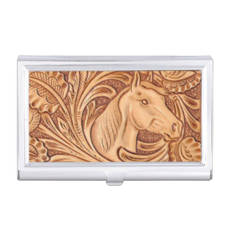 Rustic western Horse pattern tooled leather Business Card Case