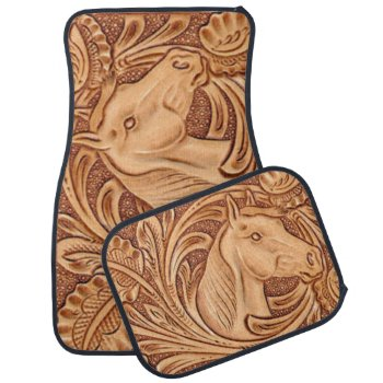 Rustic western Horse pattern tooled leather Car Mat