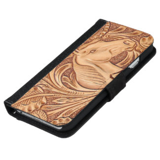 Rustic western Horse pattern tooled leather iPhone 6/6s Wallet Case