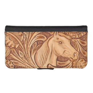 Rustic western Horse pattern tooled leather iPhone SE/5/5s Wallet