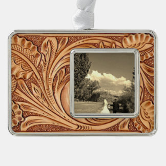 Rustic western Horse pattern tooled leather Ornament